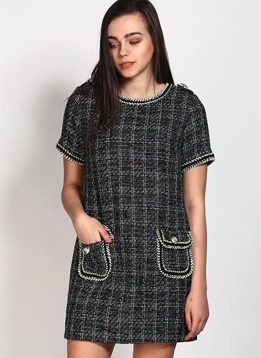 Darling Kareli Mini Triko Elbise Mavi